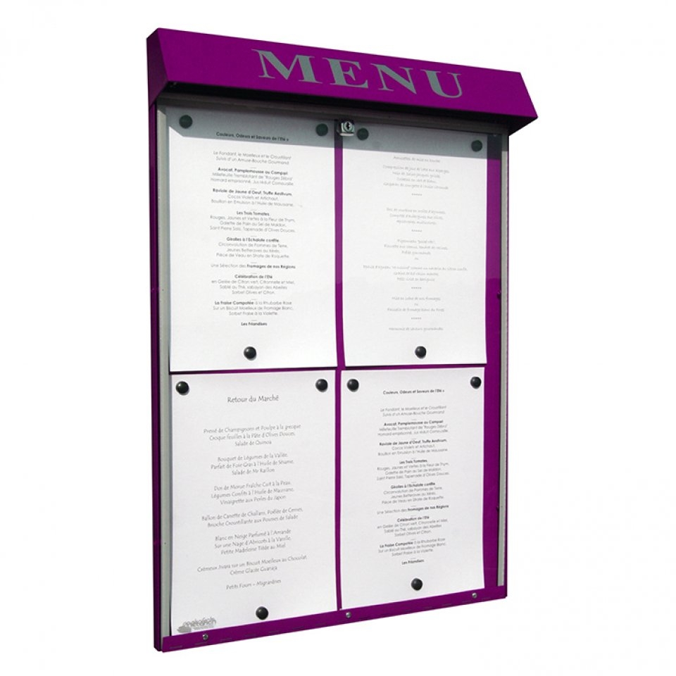 Menus et services porte menu ext rieur club for Porte menu exterieur restaurant